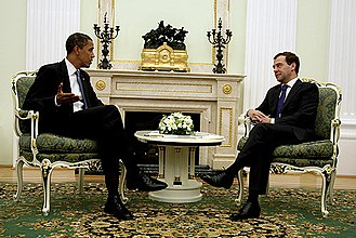 President of Russia - Then-President Dmitry Medvedev with Then-US President Barack Obama in 2009.