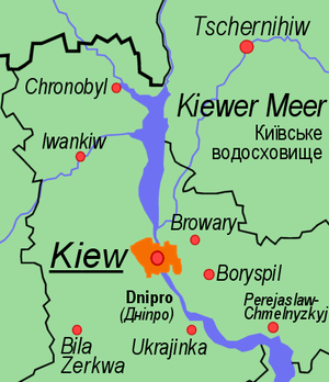 Threat of the Dnieper reservoirs - A map of the Kiev Reservoir, with Kiev downstream.