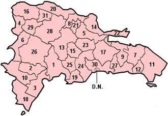 Cibao - Map of the provinces of the Dominican Republic