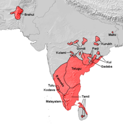 Dravidian populated areas in South Asia