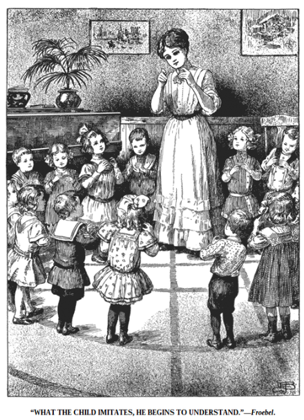 "Drawing of Teacher Leading Children in ""Finger Plays"", one of the methods of imitation and abstraction preferred by Froebel."