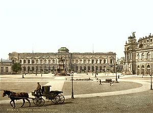 Semper Gallery - The Theater Square with the Semper Gallery and the Semperoper (right) around 1900