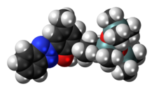 Space-filling model of the drometrizole trisiloxane molecule