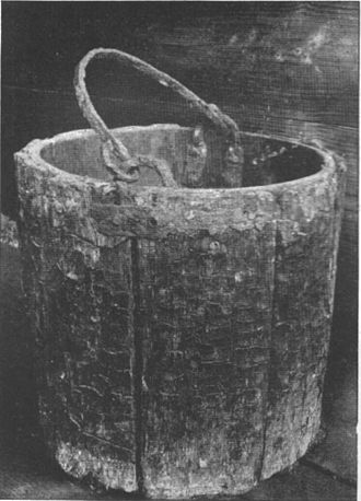 Duffield Castle, Derbyshire - Norman bucket from Duffield Castle well – now in Derby Museum