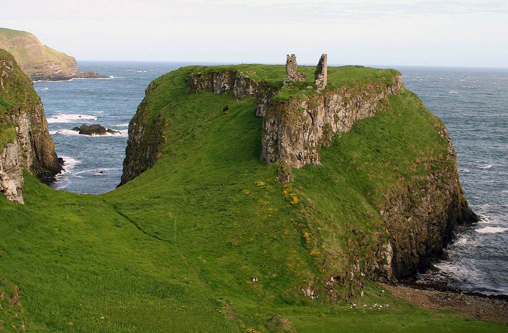 A ruined Dunseverick Castle on the coast line