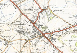 Dunstable - A map of Dunstable from 1944