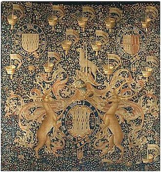 John Dynham, 1st Baron Dynham - Flemish tapestry (c.1497-1501) showing heraldry of Lord Dynham. Metropolitan Museum of Art, New York