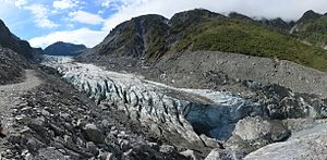 Fox Glacier - Image: E48400 Lower part of Fox Glacier with glacier mouth, February 2013