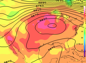1995 Chicago heat wave - 2-meter temperature (colors) and 500 hPa geopotential heights (contours) for the United States on 1995-07-13 20:00 UTC in the MERRA-2 reanalysis