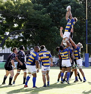 Easts Tigers Rugby Union - Easts win a lineout. Easts vs Souths rugby union at Bottomley Park on 11 April 2015.