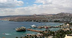 Eilat, its harbor, and the surrounding mountains