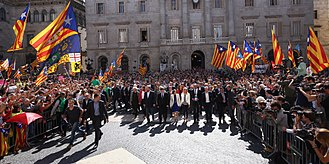 2017 Catalan independence referendum - Catalan President Carles Puigdemont and 700 mayors of Catalonia on the meeting at preparation of referendum, 16 September 2017