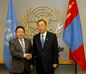 Tsakhiagiin Elbegdorj - UN Secretary General Ban Ki-moon and Elbegdorj meet at the UN Headquarters on 19 September 2011