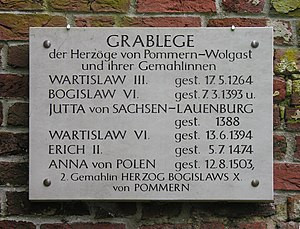 Bogislaw VI, Duke of Pomerania -  Plaque in Eldena, marking the family grave