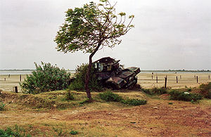 Elephant Pass - Daimler Armoured Car rusting by a tree in the area around Elephant Pass