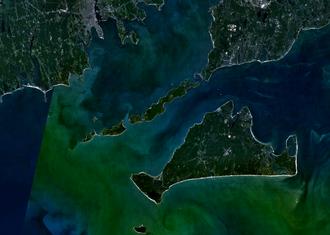 Elizabeth Islands - Satellite image of Elizabeth Islands and Martha's Vineyard