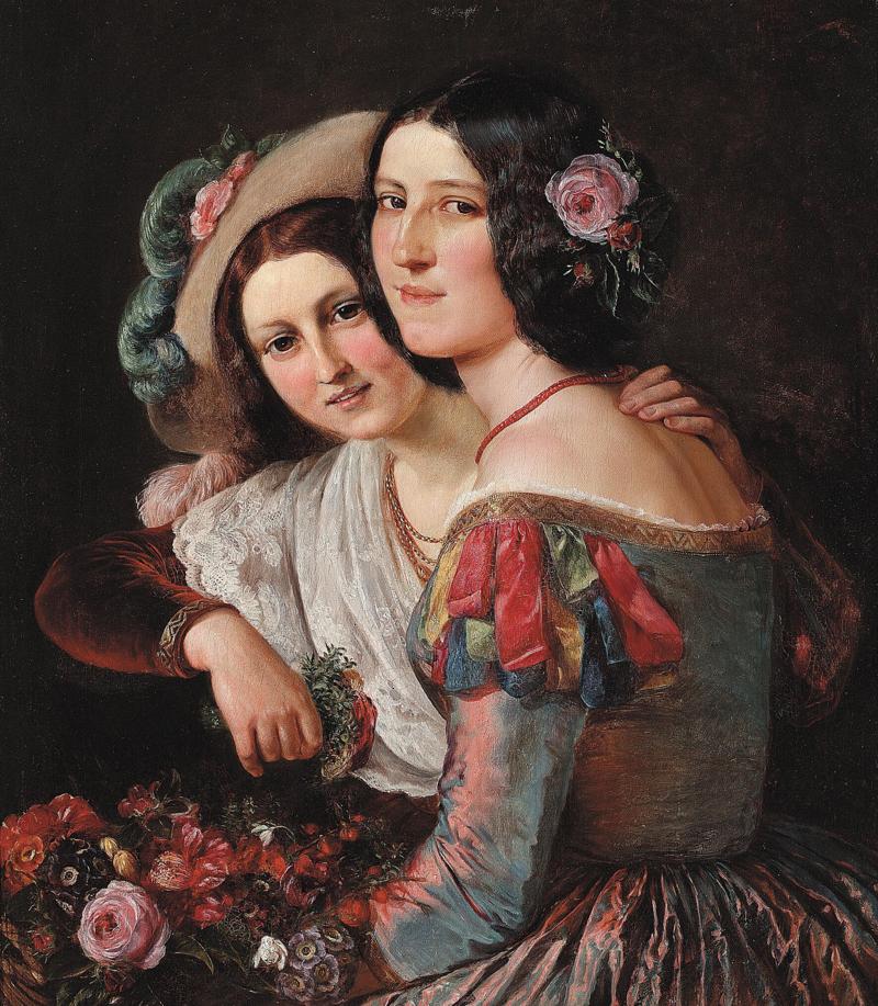 Elisabeth Jerichau Baumann - To unge italienerinder i farvestrålende karnevalsdragter.png