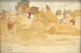 Camponeses na colheita do feno - Saint Hubert