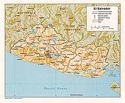 Shaded relief map of El Salvador