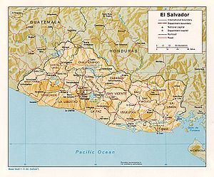 Outline of El Salvador - An enlargeable relief map of El Salvador
