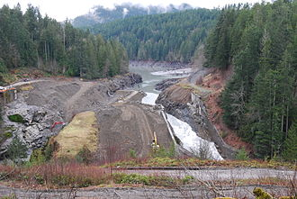 Elwha Ecosystem Restoration - What remained of the Elwha Dam as of February 14, 2012.