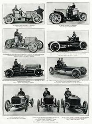 1903 Gordon Bennett Cup - Magazine spread showing three Gordon Bennett Cup Teams in 1903: German Mercedes (top), USA Wintons and Peerless (middle) and British Napiers (bottom)