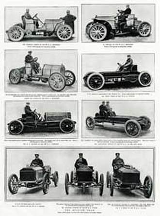Gordon Bennett Cup (auto racing) - Magazine spread showing three Gordon Bennett Cup Teams in 1903: German Mercedes (top), USA Wintons and Peerless (middle) and British Napiers (bottom)