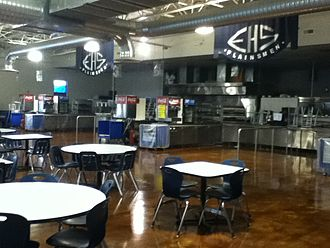 Enid High School - Enid High's renovated cafeteria was created in 2005 following implementation of the closed campus lunchtime policy.