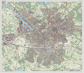 Enschede - Dutch Topographic map of Enschede (city), June 2014