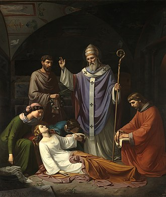 Luis de Madrazo - Interment of Saint Cecilia in the Roman Catacombs (1852)