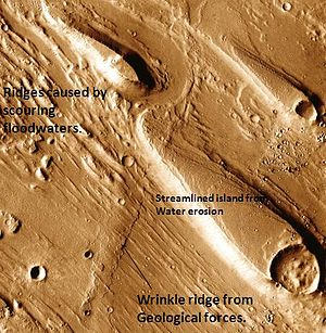 Oxia Palus quadrangle - Erosion features in Ares Vallis, as seen by THEMIS