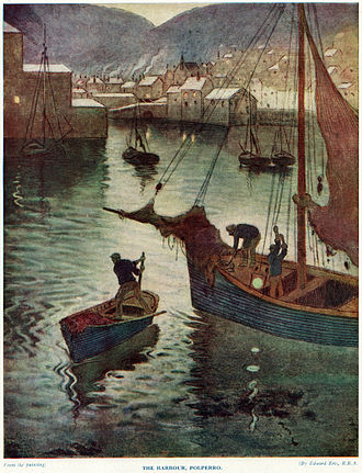 "Polperro - ""The Harbour, Polperro"" by Edward Frederick Ertz (full-page colour plate from: ""Britain Beautiful"". 4 vols. London: Hutchinson, 1924–26)"