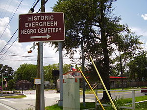Fifth Ward, Houston - Sign pointing to the Evergreen Negro Cemetery