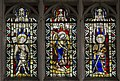 Exeter Cathedral east window, An Archangel, St Michael, and St Katherine (36765398412).jpg