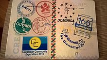 "Expo replica passport, with ""visa stamps"" by participants"