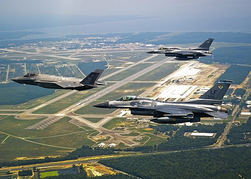 F-16C and F16D escort their successor home