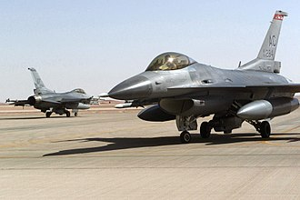 2003 invasion of Iraq - Two US F-16 Fighting Falcons prepare to depart Prince Sultan Air Base in Saudi Arabia for a patrol as part of Operation Southern Watch, 2000.