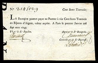 Livre tournois - La Banque Royale-100 livres Tournois (1720)