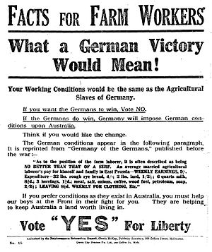 "Australian conscription referendum, 1917 - ""Facts for Farm Workers"", a campaign poster for the ""Yes"" vote."