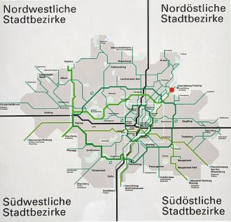 Cycling in Munich - Map of Munich's cycling network.