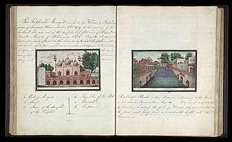 Lal Masjid, Delhi - Illustration of Lal Masjid (left) from Sir Thomas Metcalfe's Delhi Book.