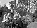 Familjebild på en trädgårdsbänk - Nordiska Museet - NMA.0057510.jpg