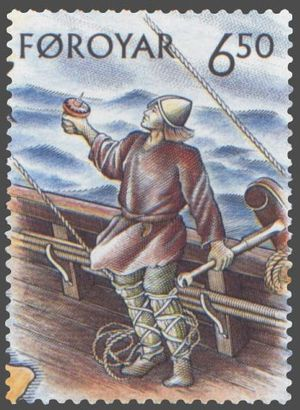 Wadmal - Faroese postage stamp with a picture of a Viking helmsman in a wadmal tunic.
