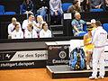 Fed Cup 2013 Germany vs Serbia - Side change Bartel vs Ivanovic and serbian box 01.jpg