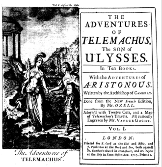 Les Aventures de Télémaque - Frontispiece and title page of a 1715 English translation