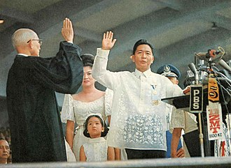 Ferdinand Marcos - Ferdinand Marcos takes the Oath of Office for a second term before Chief Justice Roberto Concepcion on December 30, 1969