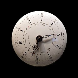 Watch movement with decimal time, Republican calendar with perpetual day of the month.