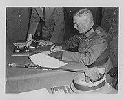 Field Marshall Keitel signs German surrender terms in Berlin 8 May 1945