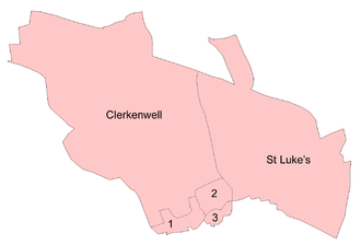 St Luke's, London - Parishes of Finsbury borough in 1911, showing St. Luke's in the east