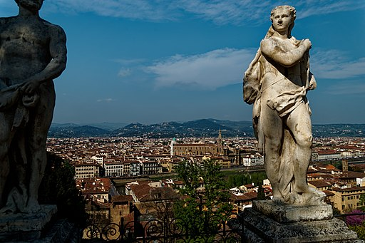 Florence, Giardino Bardini, view towards Basilica di Santa Croce